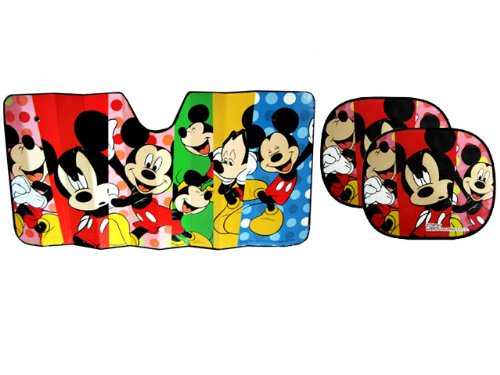 Auto Sun Shade Gift Set Mickey Mouse - 1 Jumbo Size Folding Sun Shade for Cars and 1 Spring Sun Shade for Cars