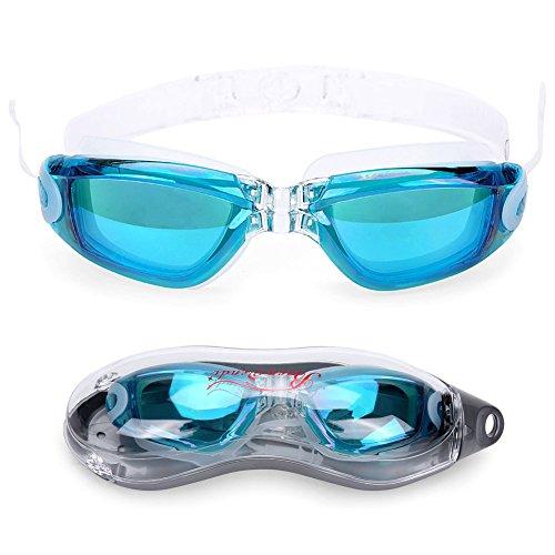 Baen Sendi Swimming Goggles with Siamese Ear Plugs - UV Protection Anti Fog - Best Adult Swim Goggles (Lake Blue)