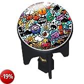 Wenko, Tappo per lavandino 20751100 Pluggy Graffiti Abfluss Stopfen Messing Kunststoff Durchmesser 39 x 65-95 cm, Multicolore (Mehrfarbig)