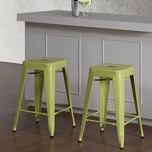 Set of 2 Lime Green Tolix Style Metal Counter Stools in Glossy Powder Coated Finish - Includes Modhaus Living (TM) Pen