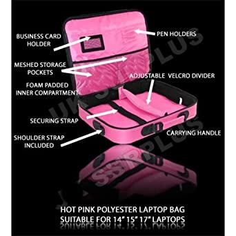 """Quality Pink Polyester 14"""" , 15"""" , 17"""" (16.4"""" widescreen) Notebook / Laptop bag / case"""