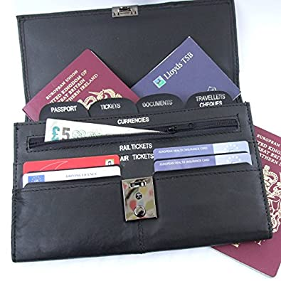 Soft Black Leather Travel Document Wallet (Passport, Tickets, Travellers Cheques, Insurance, Money Holder etc)