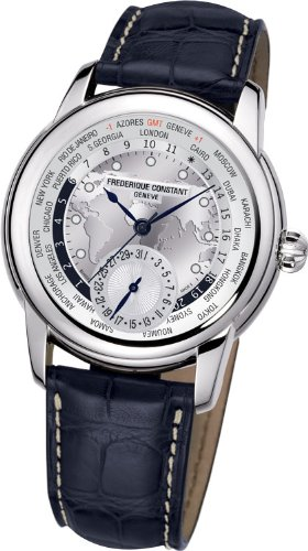 Frederique Constant Worldtimer Silver Dial Blue Leather Automatic Mens Watch FC-718WM4H6