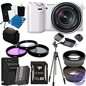 Sony Alpha NEX-5R Mirrorless Digital Camera with 18-55mm f/3.5-5.6 E-mount Zoom Lens (White) 32GB, Extra Battery, Quick Charger, Tripod + More!