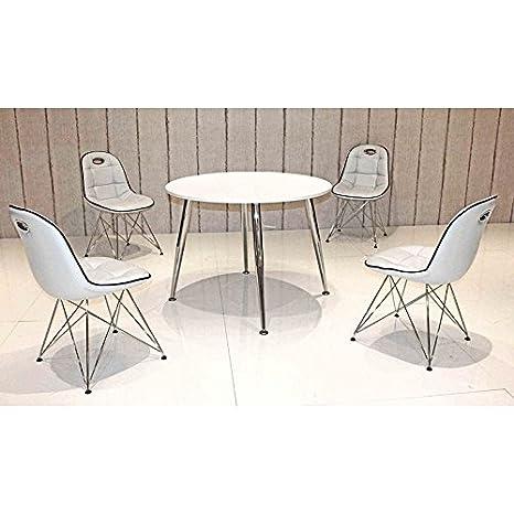 Esszimmergarnitur Komplett ● 4 Kunstleder Schalenstuhle cremeweiß ● Esstisch in weiß mit ABS Kante & verchomten Tischbeine ● 5-teilige Essgruppe Sitzgruppe