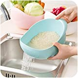 X&W Creative Rice Wash Bowl with Porous Body Hollow Out Dish Bowl for Washing Rice Cereal Fruit Vegetable Home Kitchen Use Utensil, Blue