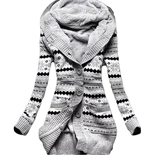 Minetom Donna Inverno Vello A Maglia Pulsante Maglioni Outwear Cardigan Tunica Felpe Con Cappuccio Maglieria Cappotti Grigio IT 42