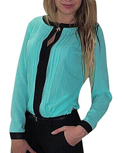 LaoZan Donna Camicetta Camicia Collo Rotondo con Maniche Lunghe Portato a Lavoro Lack Blu Medium
