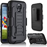 Galaxy S4 Case, Samsung Galaxy S4 I9500 Case Starshop(TM)Hybrid Full Protection High Impact Dual Layer Holster Case with Kickstand and Locking Belt Swivel Clip Black