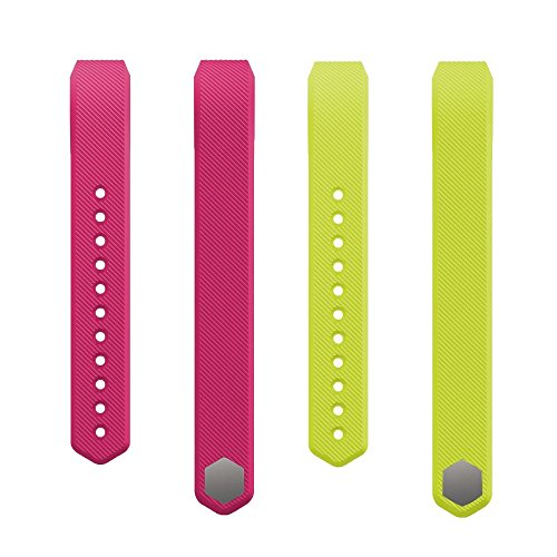 Classic Replacement Accessory Band/ Wristband Bracelet Strap Bundle for Fitbit Alta Fitness Tracker, Small, Pink & Lime