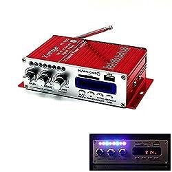 SallyBest Mini Hi-Fi 2-CH Car Bluetooth Amplifier USB SD DVD FM Audio Stereo Radio MP3 Speaker Digital Display Power Player for Car /iPod / Boat / Motorcycle -Red