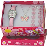 Ravel Little Gems Watch with Matching Butterfly Necklace and Bracelet