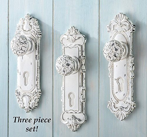 Sculpted Hand Painted White Antique Door Knob Wall Hook 3pc Set (Door Knob Rack compare prices)