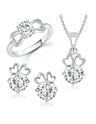 VK Jewels Efflorescent Solitaire Combo Ring & Pendant Set - COMBO1005R [VKCOMBO1005R]