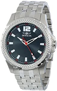Invicta Men's Quartz Watch with Black Dial Analogue Display and Silver Stainless Steel Bracelet 15201