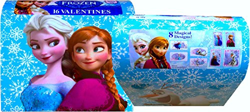 Disney Frozen Valentines 16 Pack with Bonus Mailbox and Heart Seals - 1