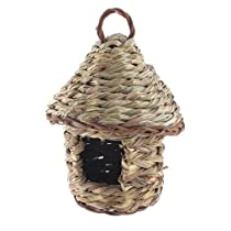 Water & Wood Garden Ornament Artificial Woven Wicker Hole Opening Bird Nest House