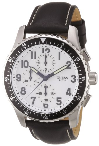Guess Herren-Armbanduhr XL Mission Analog Leder 