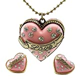 DaisyJewel Pink and Gold CZ Pave Cake Heart Locket Necklace with Matching Cake Heart Earrings