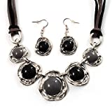 Five Discs Enamel Hammered Suede Cord Necklace & Drop Earrings Set (Silver Tone)