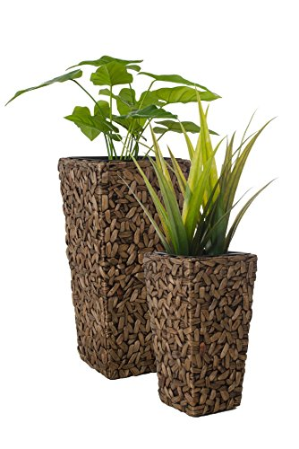 """Blumenkübel Pflanzkübel Pflanzgefäße Übertöpfe Blumentöpfe aus Wasserhyazinthe 77/51 cm hoch, """"Wild Design"""" braun"""