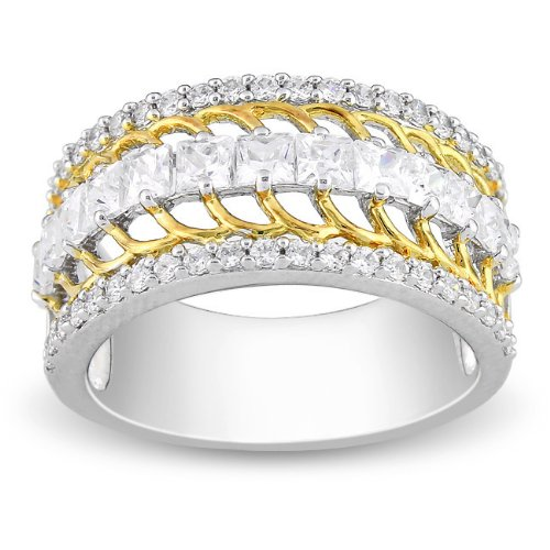 Sterling Silver 2 3/8 CT TGW White Cubic Zirconia Fashion Ring