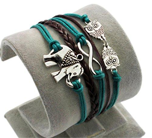 HITOP Fashion Vintage Cool Charms Damen best friend Leder Bronze Armband Elefanten Eule Lederarmband Bracelet mit Charm Anhänger Geschenk