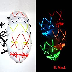 Frightening EL Wire Halloween Cosplay Led Mask Light Up Mask for Festival Parties Blue 1pc