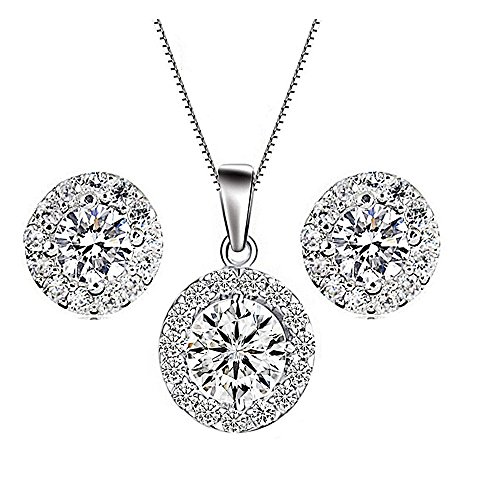 925 Sterling Silver Round Pendant Necklace Stud Earring Bridal Jewelry Sets for Women Teen Girls Gift