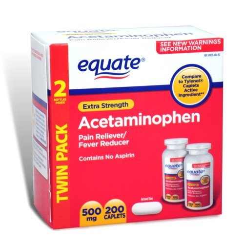 Equate Extra Strength Value Pack Acetaminophen, Pain Reliever/ Fever Reducer 200 Caplets