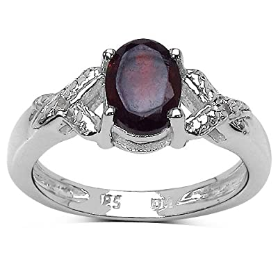 The Garnet Ring Collection: Sterling Silver 1.00CT Garnet Engagement Ring with Diamond Shoulders