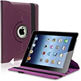 eForCity 360-Degree Swivel Leather Case for Apple iPad2/3/4, Purple (PAPPIPADLC45)