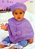 Sirdar Baby Poncho Hat Tiny Tots DK Pattern 1513 41 66 cm16 26 ins Pattern