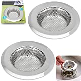 """2PCS Stainless-Steel Kitchen Sink Strainer - Large Wide Rim 4.45"""" Diameter - Perfect for Kitchen Sinks (Large) - Fengbao"""
