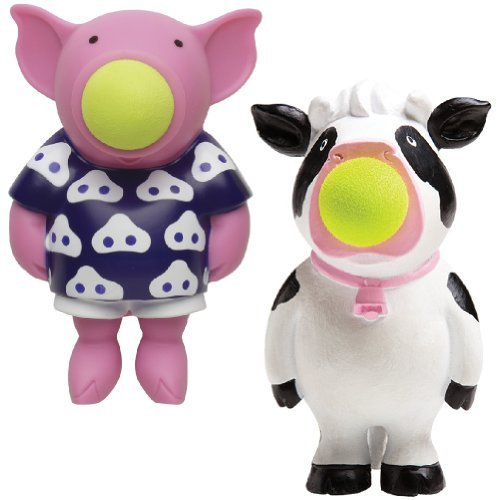 (Set/2) Hog Wild Pig & Cow Popper Set Stress Relieving Toy - Launch Foam Balls - 1