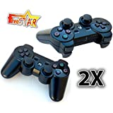 FiveStar Playstation III PS3 Remote Controller GamePad For PS3 (Black) (2XControllers)