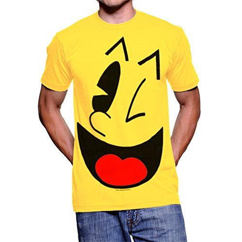 Adult's Pac-Man Big Face Yellow T-shirt - S to XXL. Guaranteed to put a smile on everyone's face!