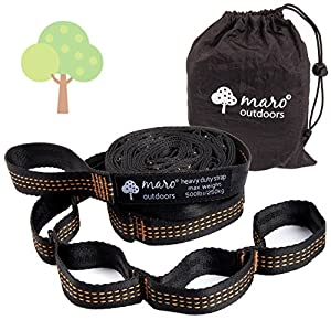 #1 Hammock Tree Straps - Superior Strength - TopNotch Quality - Lifetime Warranty. Extremely Fast & Easy Setup, No Stretch, Fits All Hammocks. Great for Camping, Backpacking, Outdoors. Set of 2
