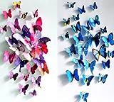 部屋に蝶々飛んでる! 超かわいい 大きな 壁紙 立体 3D  ウォールステッカー 24匹 ピンク&青  【マイホット】