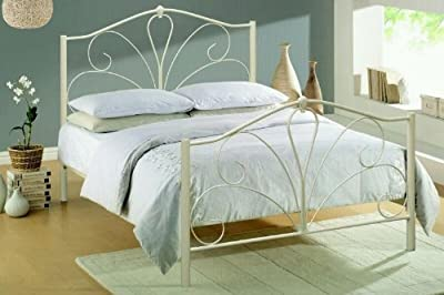 4ft6 Double In Ivory Or Black Gloss Metal Bed Frame New Stock Just Arrived Web Offer