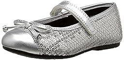 Rachel Shoes Lil Capri Dress Mary Jane Ballet Flat (Toddler/Little Kid), Silver Sequins, 8 M US Toddler