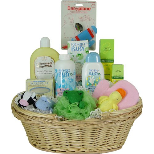 Ultimate Baby Gift Basket for Shower, Birth or Birthday, Blue Airplane and Frog Scrubby