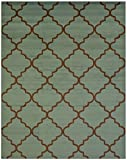 """Conur Collection Trellis Contemporary Modern Design Area Rug Rugs (More Color Options Available) (5'3""""x6'11"""", Teal / Brown)"""