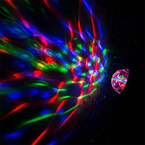 WOWTOU USB Powered Rechargeable RGB LED Rotating Disco Ball Lamp with Flashlight, Wireless Party Light Show for Dance Club Stage DJ Lighting (Black)