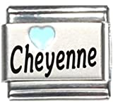 Cheyenne Light Blue Heart Laser Name Italian Charm Link