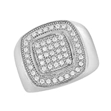 buy Stainless Steel Mens Ring Wedding Engagement Band Lab Created Diamond White Tone (12)