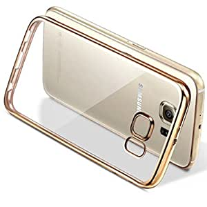 Trendz Gold Electroplated Edge Clear Soft Transparent Back Cover for Samsung Galaxy A5 2015 Transparent Back Case Gold - Golden