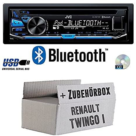 Renault Twingo 1 - JVC KD-R871BT - Bluetooth CD/MP3/USB Autoradio - Einbauset