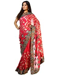 Exotic India Pink-Flambe Shimmer Sari With Patch Paisley Border And Woven - Pink