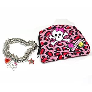 Pink Cookie Heart And Skull Charm Bracelet and Purse